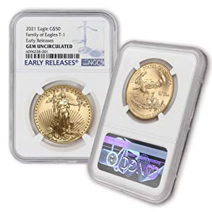 2021 1 oz Gold American Eagle Gem Uncirculated (Early Release - Blue Label) by CoinFolio GEMUNC $50 NGC