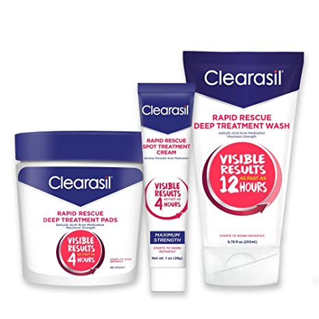 Clearasil Rapid Rescue Acne Kit With Deep Treatment Cleansing Pads 90ct,  Spot Treatment Cream