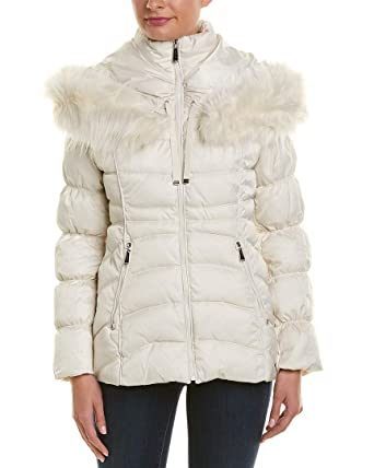 2b485c29dbb Laundry by Shelli Segal Faux Fur Trim Short Puffer Hooded Jacket Coat New  Pearl (S