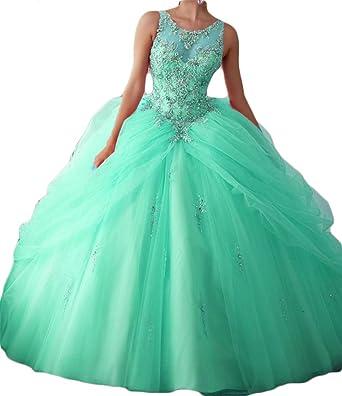 Dydsz Womens Scoop Long Quinceanera Prom Dresses Plus Size Stones Gowns 2017 D24 Aqua 2