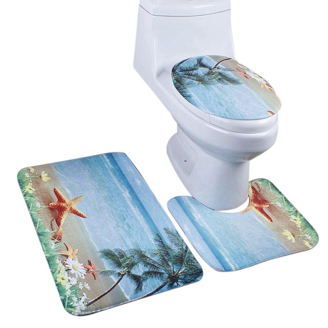 Freahap Bathroom Rug Set Bath Mat Contour Mat Toilet Lid Cover Non Slip Washable #1 Hengfey