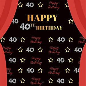 AOFOTO 8x8ft Ladies 40th Birthday Backdrop for Pictures Woman Mother 40 Years Old Bday Bash Decor Party Celebration Stars Red Curtain Black Background for Photography Photo Studio Props Vinyl