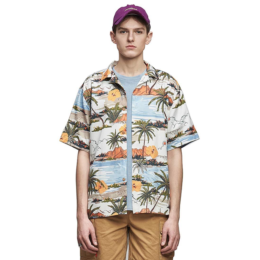 Mens Coconut Print Short Sleeve Beach Hawaii-Shirts Button Down Aloha Shirt Oversized Holiday