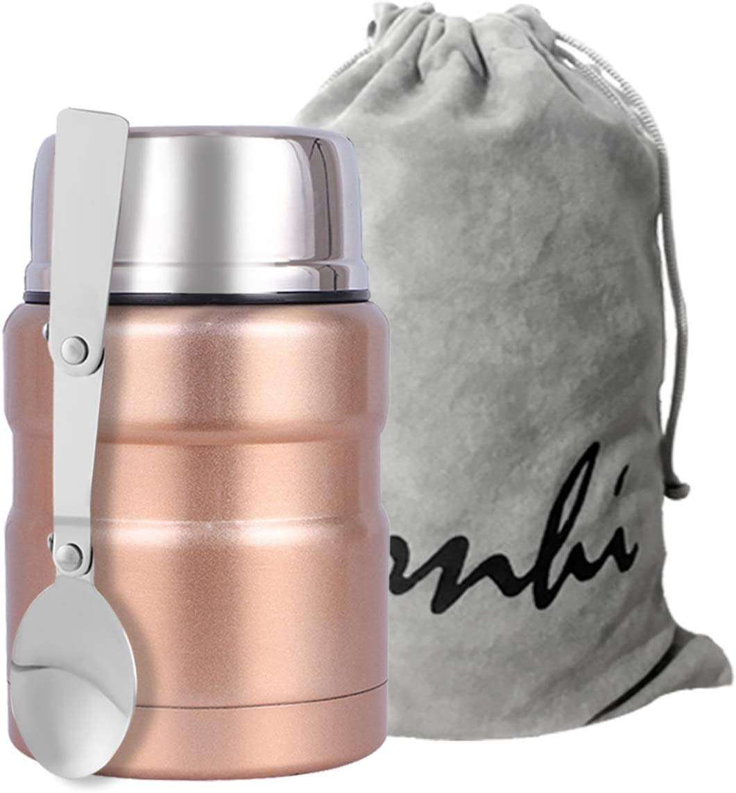 Yonhi Stainless Steel Food Thermos with Lid, Kids Lunch Thermos Hot Food,Iinsulated Lunch Jar Hot Food 16 Ounce (Rose Gold)
