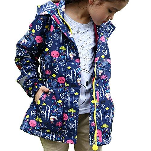 iBaste Regenjacke Kinder Mädchen Gefüttert Warm Wasserdicht Tailliert Softshell-Jacke mit Aufdruck Kinder Jacket mit Kapuze Regenmantel Herbst Winter Sportjacke Outdoor Blau 134/140