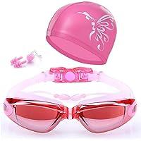 5 in 1 Swimming Goggles glasses Swim Cap Nose Clip Ear Plugs Case Pink