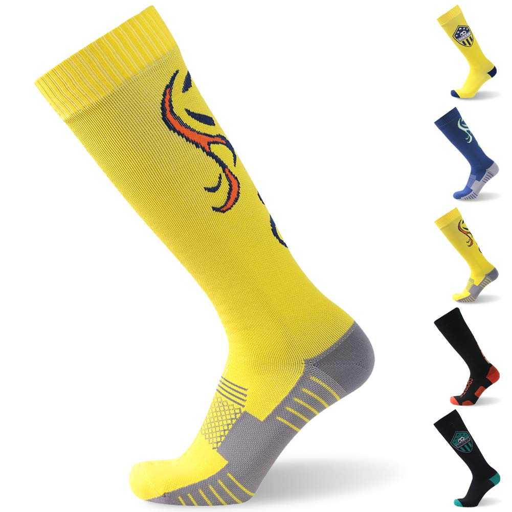 RANDY SUN Waterproof Football Socks, Unisex Coolmax Cycling Running Trekking Skiing Knee Length Socks, 1 Pair-Yellow-Medium by RANDY SUN