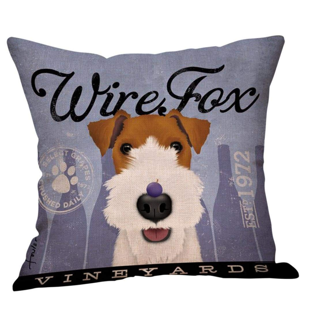 Beautiful Dog Printed Cushion Cover Home Décor Polyester Throw Sofa Pillow Case