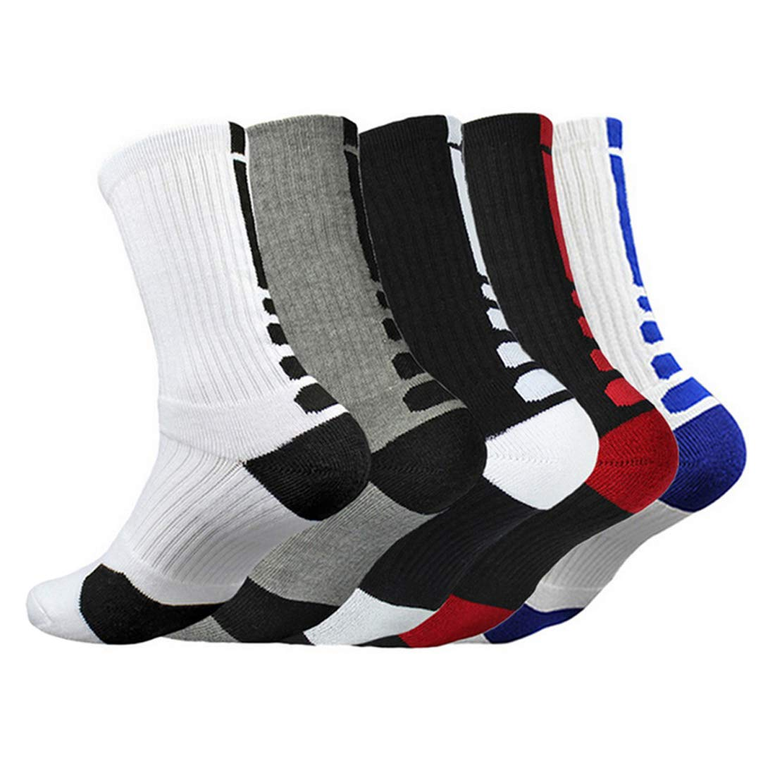 Mens Dri-fit Cushioned Basketball Socks Athletic Crew Socks Long Sports Outdoor Socks Compression Socks