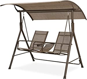 PovKeever 2 Person Patio Swing Steel Frame textlene Cover Adjustable, Swing Bench, Suitable for Patio, Garden, Poolside, Balcony (Brown)