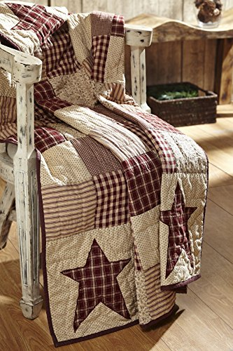 Cheston Primitive Star Quilted Throw - Burgundy and Creme (Burgundy Star)