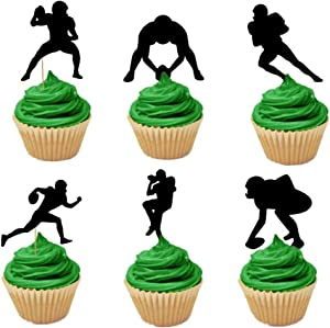 LaVenty Set of 24 Football Payers Cupcake Toppers Rugby Cupcake Topper Super Bowl Party Decoration Football Party Decoration Rugby Party decoration Football Party Supplies