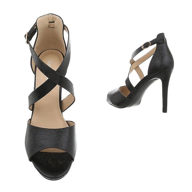 High Sandalenamp; Sandaletten Pfennig Ital Heels Damenschuhe Schnalle Stilettoabsatz Heel Design 4qR3Lcj5A