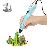 [Imprimante 3D Pen avec écran LCD] ohCome 3D Stéréoscopiques Impression Dessin Pen pour 3D Doodling Peinture + Modeling + Arts + Crafts Printing, Compatible avec 1.75mm PLA / Filaments ABS Printer - Bleu