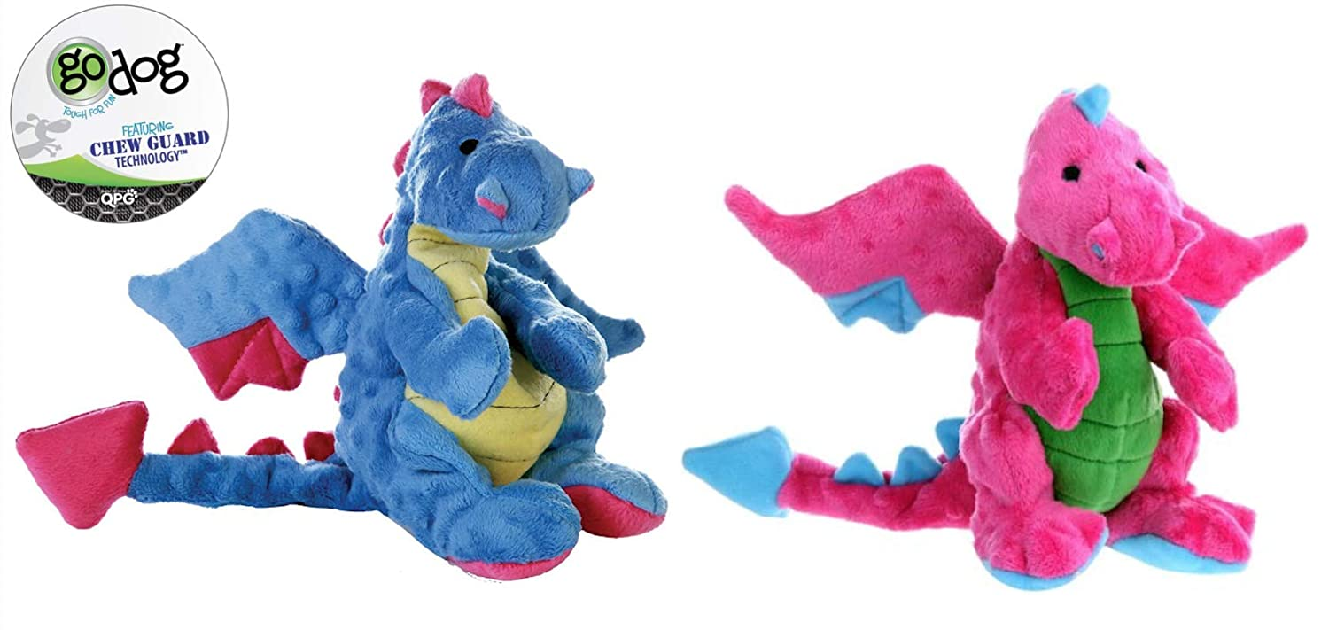 GoDog Dragon with Chew Guard Technology Dog Toy Large Set of 2  bluee & Pink