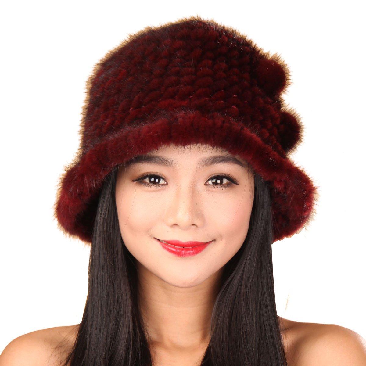 URSFUR Women's Mink Fur Floppy Hats Multicolor (Burgundy)