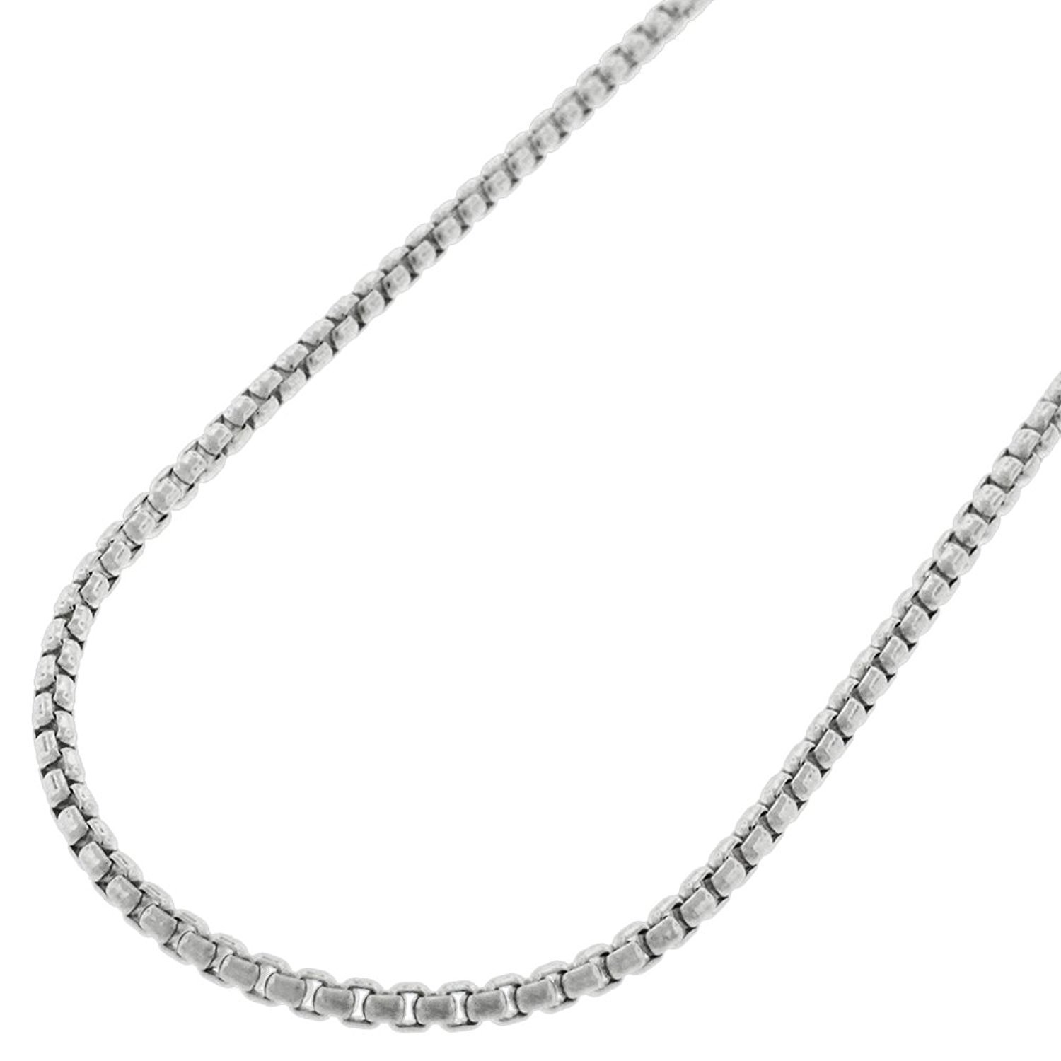 Sterling Silver Italian 2mm Round Box Link Solid 925 Rhodium Necklace Chain 16'' - 24'' (20)
