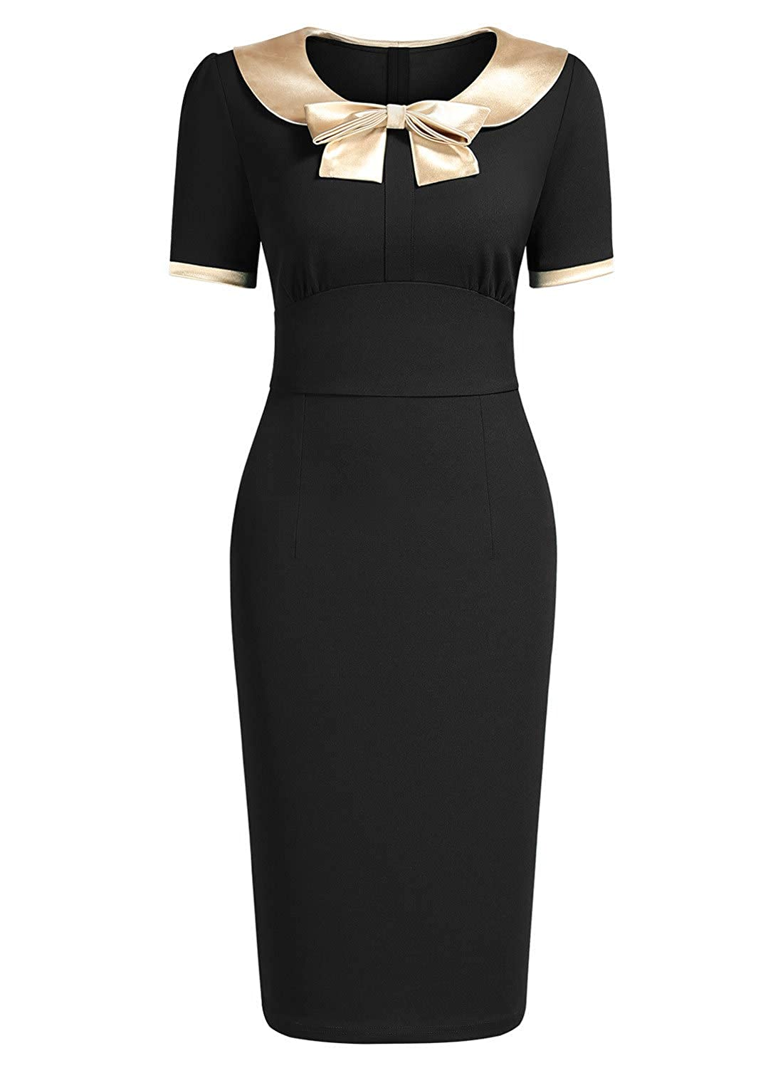 1950s Pencil Dresses & Wiggle Dress Styles AISIZE Womens 1940s Style Vintage Golden Bow Contrast Color Wiggle Dress $34.99 AT vintagedancer.com