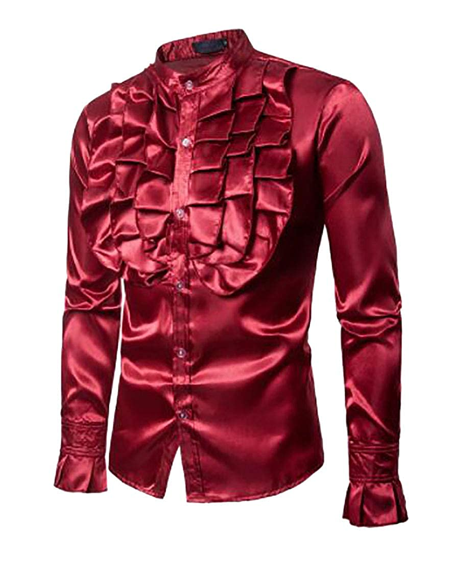 BYWX Men Stylish Long Sleeve Clubwear Button Down Performance Stand Collar Shirts