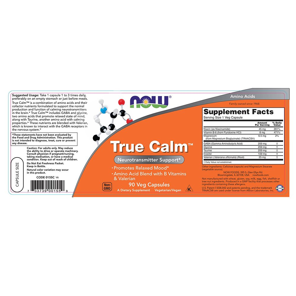 NOW True Calm Veg Capsules Image 1
