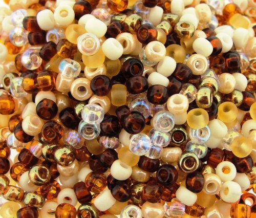 Miyuki Round Seed Beads Size 8/0 22g Honey Butter Mix Brown Glass Seed Beads