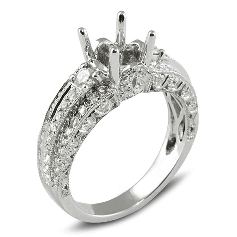 0.95 Carat (Ctw) 18k White Gold Round Diamond 3 Stone Semi Mount Engagement Bridal Ring (No Center Stone)