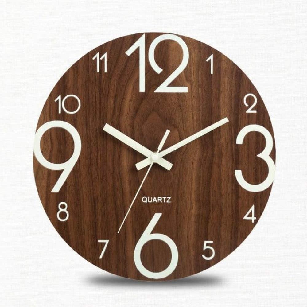 ZC Reloj De Pared De Madera Reloj De Pared Digital Silencioso Luminoso Reloj De Pared Luminoso Oscuro Reloj Moderno Decoración De La Sala De Estar