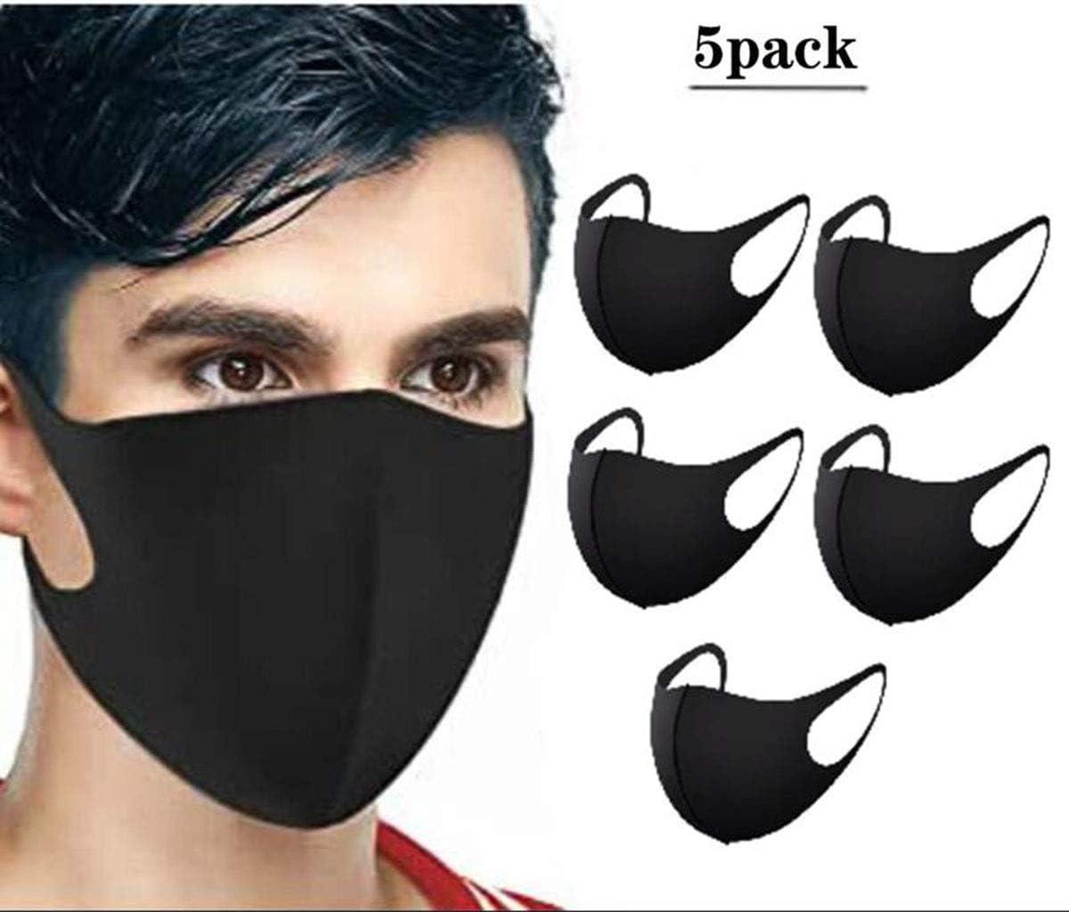 Máscara de la boca, de algodón mitad de la cara suave Máscara lavable anti-niebla de polvo Manera Protección de Kawaii La máscara fresca del oso de panda para hombres y mujeres (Paquete de 5) negro
