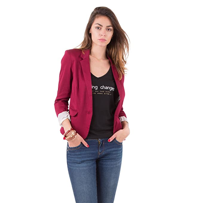 b7ac4781e17f1 Mim - Veste blazer femme - Femme - 42 - ROUGE  Amazon.fr  Vêtements ...