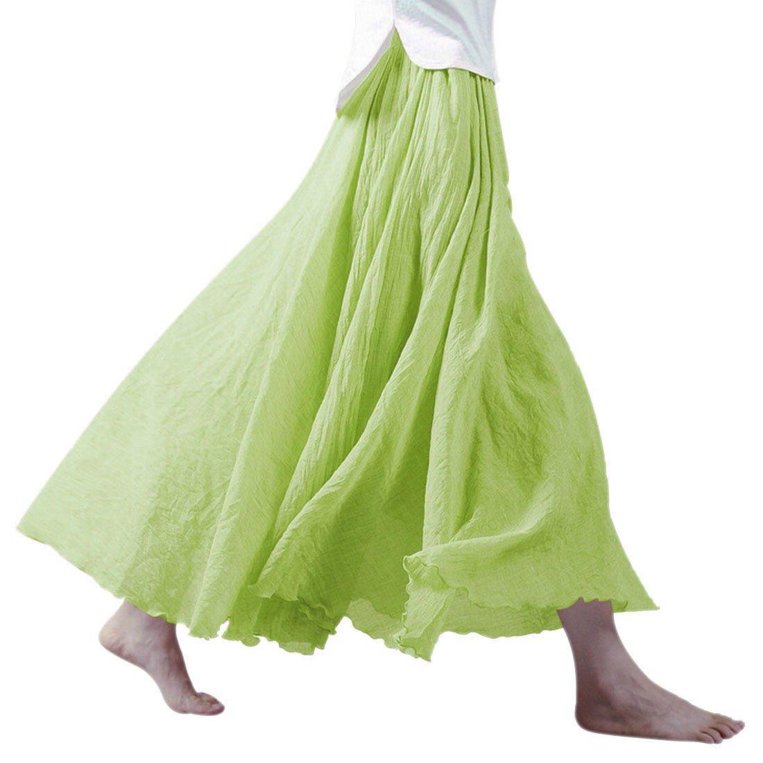 Ezcosplay Women Bohemian Cotton Linen Double Layer Elastic Waist Long Maxi Skirt (95CM, Pistachio Green)
