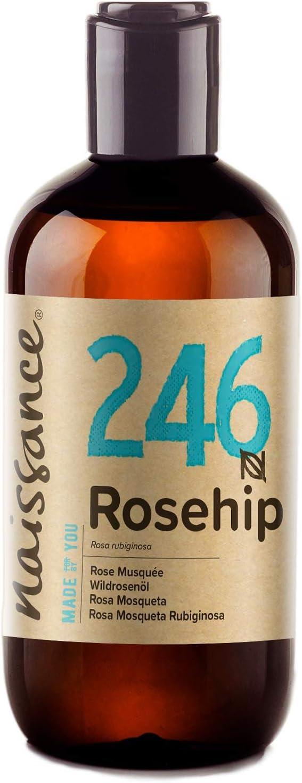 Naissance Aceite Vegetal de Rosa Mosqueta Rubiginosa n. º 246 – 250ml - Puro, natural, vegano, sin hexano y no OGM - Hidrata y nutre todo tipo de pieles, el cabello y las uñas.