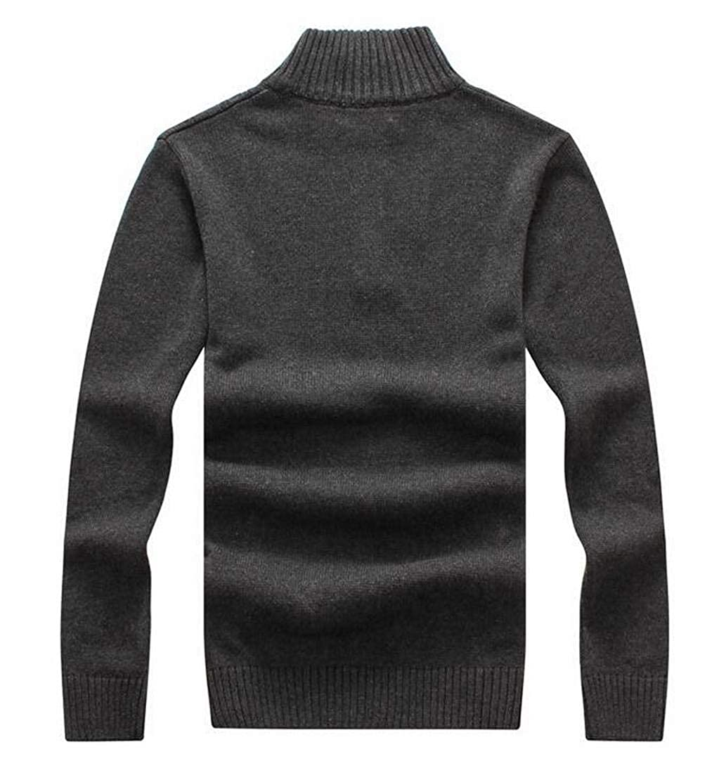UUYUK Men Winter Ribbed Cable Knit 1//2 Zip Turtleneck Pullover Sweater
