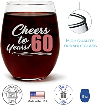 60th Birthday Gift for Women Cheers to 60 Years Large Stemless Wine Glass 0072