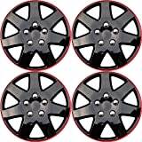 hyundai elantra hubcaps 2003 - Hubcaps for 15 inch Standard Steel Wheels (Pack of 4) Wheel Covers - Snap On, Ice Black and Red