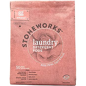 Grab Green Stoneworks Laundry Detergent Pods, Powered by Naturally-Derived Plant & Mineral-Based Powder Pods, Rose Petal, 50 Count (Pack of 1) Loads-EPA Safer Choice Certified