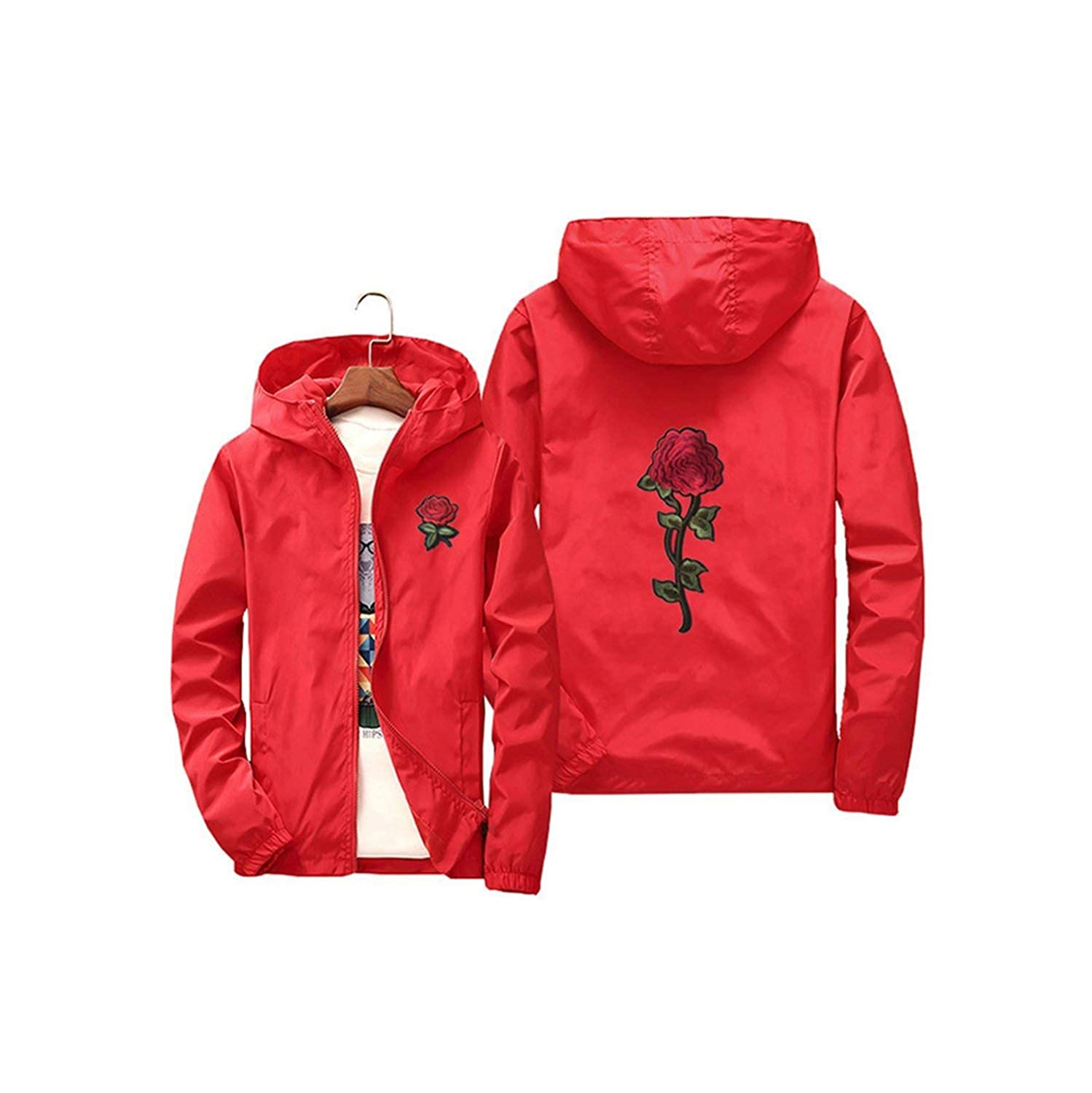 contentment Women Hooded Jacket Coats Embroidery Rose Casual