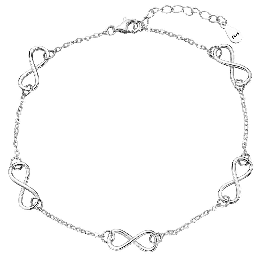 EVER FAITH Women's 925 Sterling Silver Gorgeous Figure 8 Infinity Adjustable Anklet Link