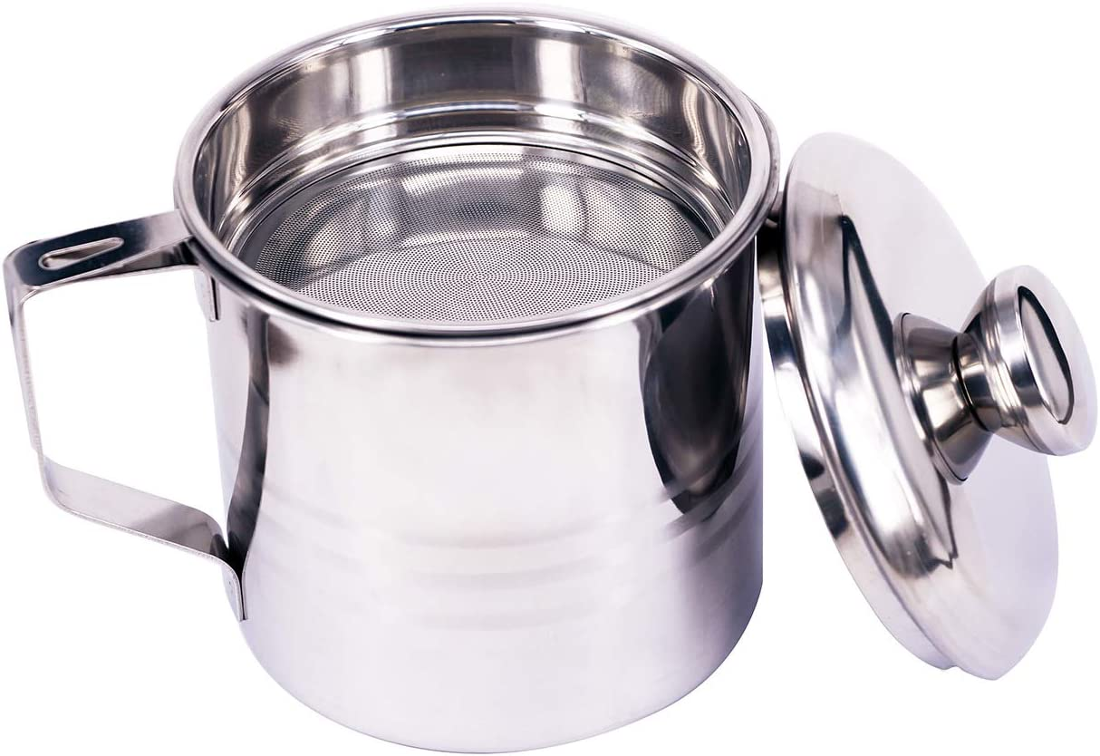 Smilesun Stainless Steel Cooking Oil Storage Grease Container Grease Strainer Pot (1.2 L)
