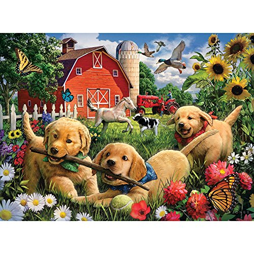 (Bits and Pieces - 300 Piece Jigsaw Puzzle for Adults - Farmyard Pups - 300 pc Golden Retriever Puppies Jigsaw by Artist Larry Jones )