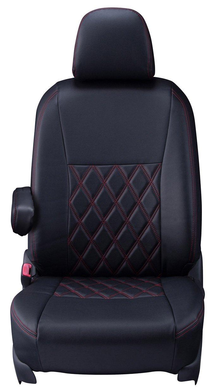 クラッツィオ シートカバー アウトランダー PHEV Clazzio ダイヤ ブラック×レッドステッチ EM-0767 B01BS2UIKU  ブラック×レッドステッチ
