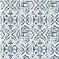 Warner 3117-12332 Sonoma Blue Spanish Tile Wallpaper