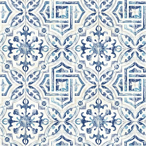Warner 3117-12332 Sonoma Blue Spanish Tile Wallpaper