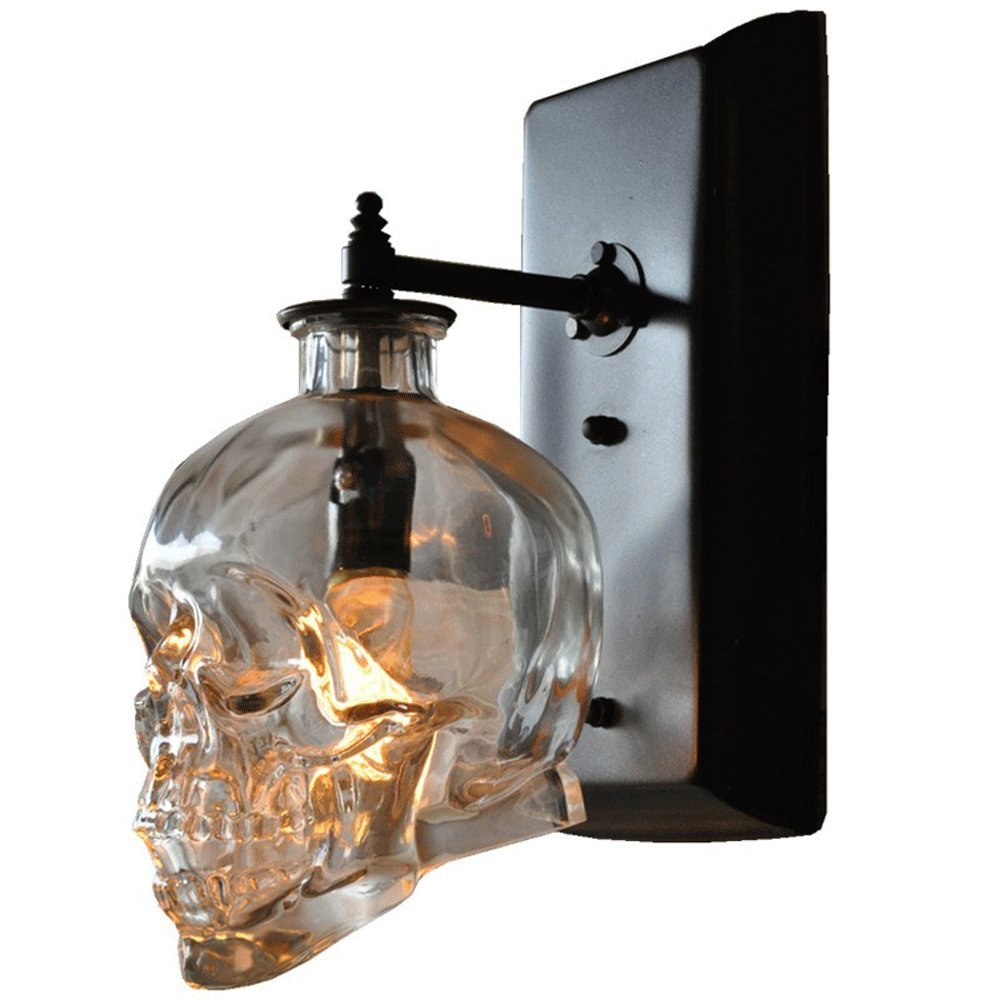 Pinjeer Creative Loft Human Skull Bones Wall Lamp Antique E14 Skull Ghost Clear Glass Wall Sconces for Bar Restaurant Deco Corridor Aisle Stairs Wall Light Decorative Lantern