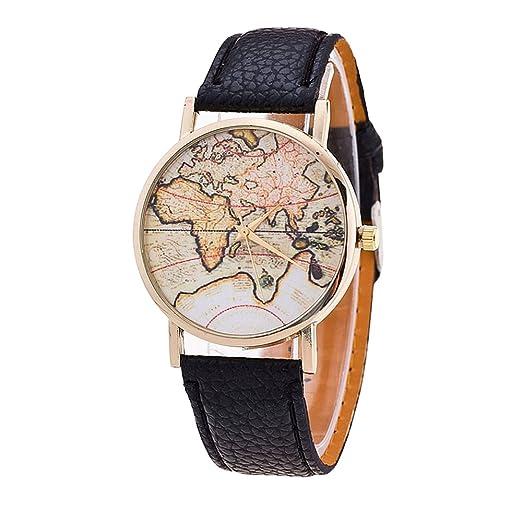 Retro Reloj del Mapa del Mundo Correa de Cuero Relojes de Pulsera para Hombres Chico Mujer Chica, Negro: Amazon.es: Relojes