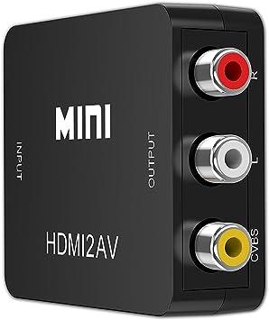 QGECEN HDMI a 3RCA AV Compuesto convertidor/convertidor/Adaptador | 1 x HDMI/2 x RCA enchufes: Amazon.es: Electrónica