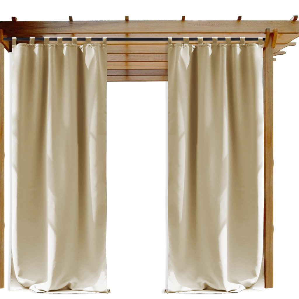 NICETOWN Outdoor Drape and Curtain Pergola, Front Proch Decor Thermal Insulated Tab Top Room Darkening Outdoor Curtain Panel (Cream Beige, 1 Piece, 52 x 84 Inch)