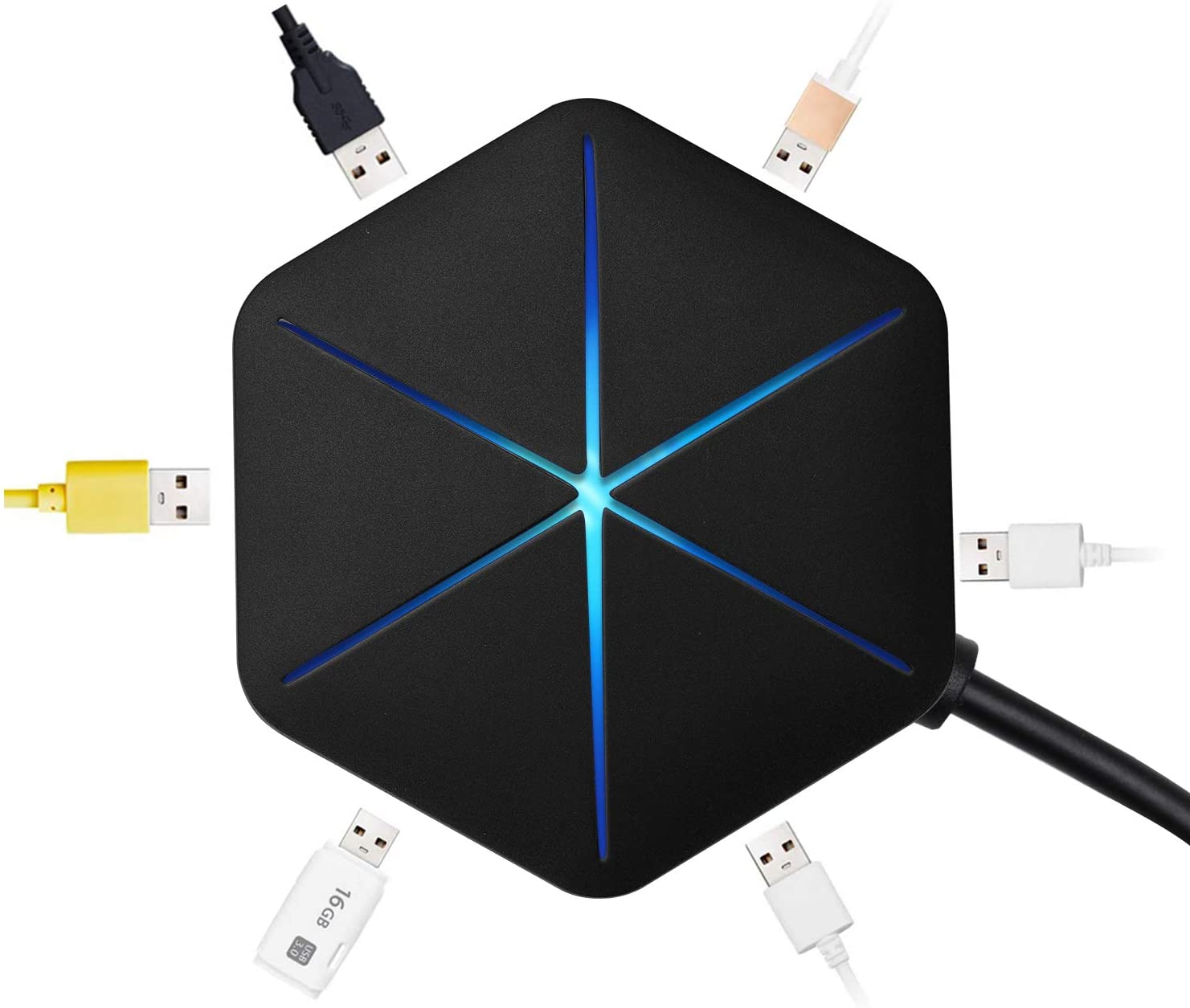 MefeCoorel USB Hub 6-Port USB 2.0 Hub USB Extension Cable Blue LEDs Extra USB Ports for Devices Such as PS4 Mac PC Laptop Computer Desktop
