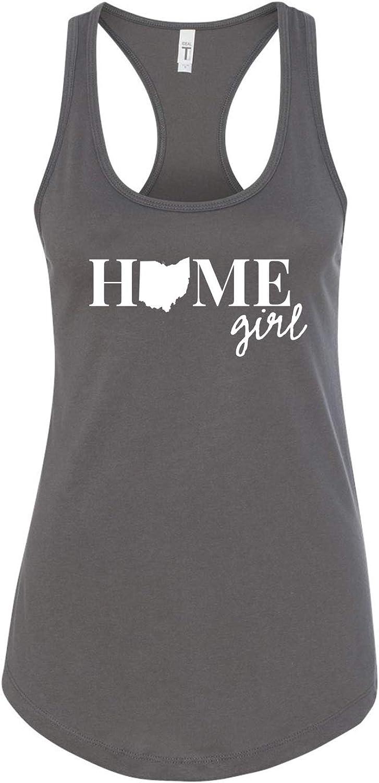 Ohio Home Girl State Love/Pride Ladies Printed Graphic Next Level Sleeveless Racerback Tank Top