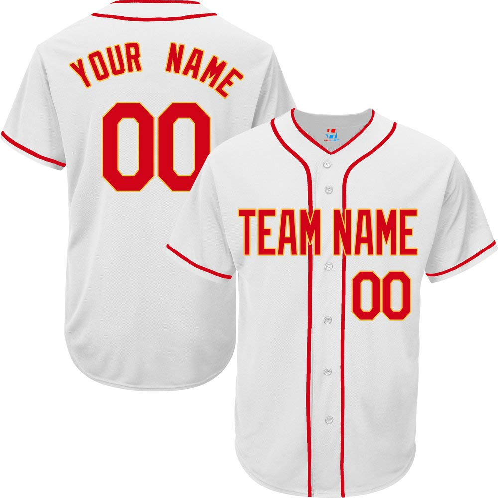 Pullonsy White Custom Baseball Jersey for Men Big and Tall Embroidered Name,Red-Yellow Size 5XL by Pullonsy