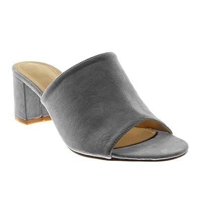 Angkorly Damen Schuhe Sandalen Mule   Slip on   Modern Blockabsatz High Heel 5.5 cm